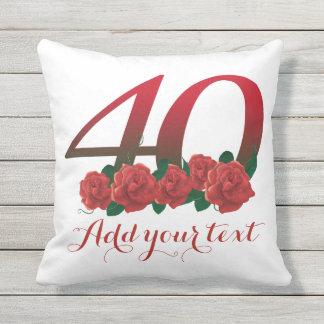 40th travesseiro personalizado do texto de 40 almofada para ambientes externos