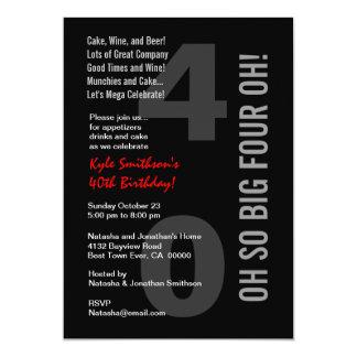 40th Vermelho branco QUATRO OH do preto moderno do Convite 12.7 X 17.78cm