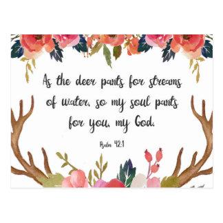 42:1 do salmo, cartão floral do verso da bíblia