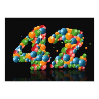 42nd Festa de aniversário, com bolhas e bolas Convite 12.7 X 17.78cm