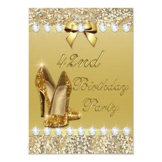 42nd O ouro elegante do aniversário coloca saltos Convite 12.7 X 17.78cm