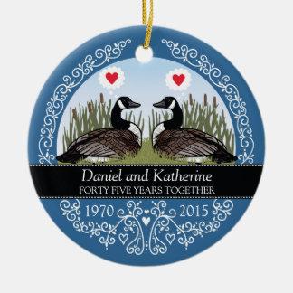 45th aniversário de casamento personalizado, ornamento de cerâmica redondo