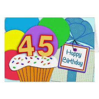 45th cartão de aniversário feliz