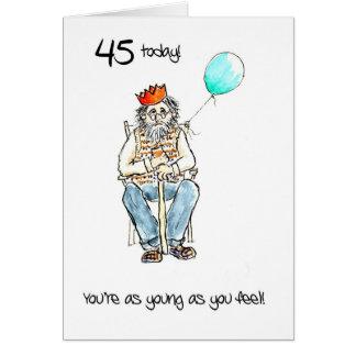 45th cartão de aniversário ligeiro para um homem