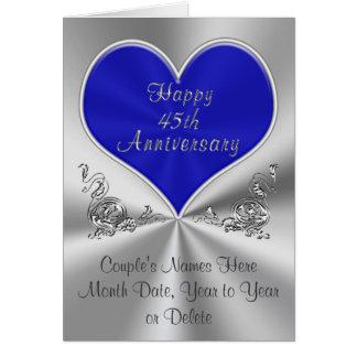 45th cartão personalizado do aniversário de