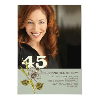 45th Convite da foto do aniversário
