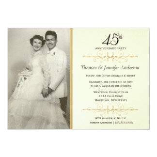 45th convites elegantes da festa de aniversário do convite 12.7 x 17.78cm