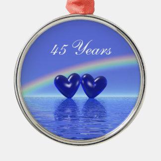 45th Corações da safira do aniversário Ornamento Redondo Cor Prata