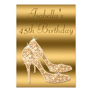 45th estiletes glamoroso do ouro do aniversário convites personalizado