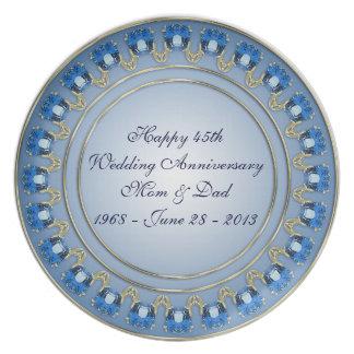 45th Placa do aniversário de casamento Louça De Jantar