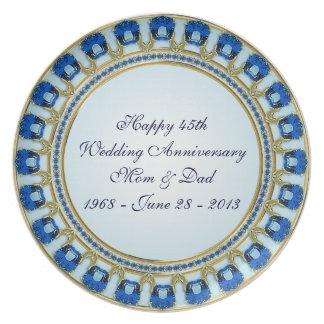 45th Placa do aniversário de casamento Pratos