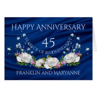 45th safira feliz dos rosas brancos do aniversário cartão