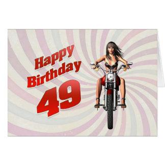 49th Cartão de aniversário com uma menina do