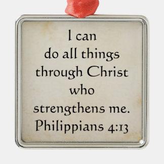 4:13 dos Philippians da escritura Ornamento Quadrado Cor Prata