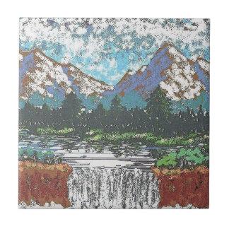 """4,25"""" x 4,25"""" azulejo - cachoeira da montanha"""