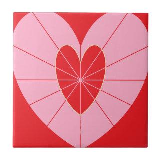 """(4,25"""" x 4,25"""") azulejo pequeno com corações"""