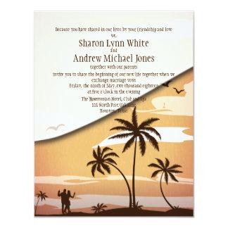 """4,25"""" x 5,5"""" casamento havaiano da palmeira da convite 10.79 x 13.97cm"""