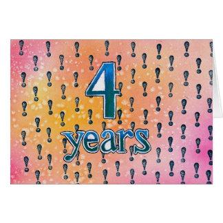 4 cartão anos de aniversário/aniversário da
