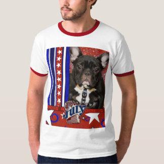 4 de julho foguete - buldogue francês - cerceta camiseta