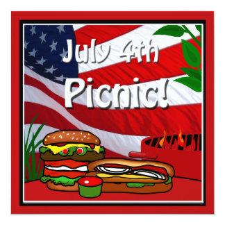 4 de julho Hotdog do Hamburger do piquenique da Convite Personalizado
