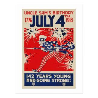 4 de julho propaganda do aniversário WWI do tio Cartão Postal