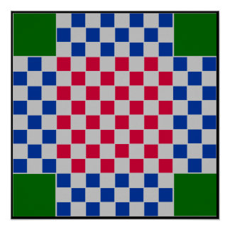 4 jogador - grade do conselho do TAG da xadrez Poster