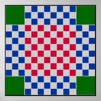 """4 jogador - grade do TAG da xadrez do futebol (~1"""" Posters"""