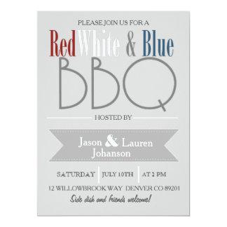 4o branco e azul vermelho moderno do CHURRASCO | Convite 16.51 X 22.22cm
