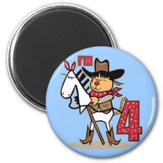 4o Cavalo de vara do vaqueiro do aniversário Imas De Geladeira
