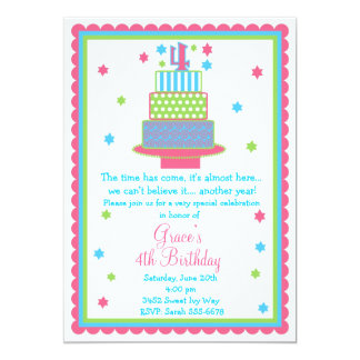 4o Convite de festas do bolo de aniversário
