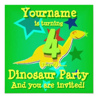 4o Convites de festas do dinossauro dos desenhos Convite Quadrado 13.35 X 13.35cm