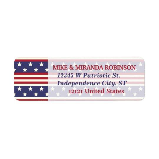 4o da bandeira patriótica dos EUA da bandeira dos Etiqueta Endereço De Retorno