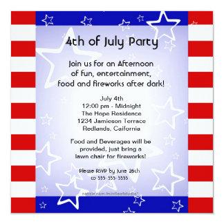 4o do churrasco de julho/azul branco vermelho do convite quadrado 13.35 x 13.35cm
