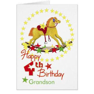 4o Estrelas do cavalo de balanço do aniversário Cartão