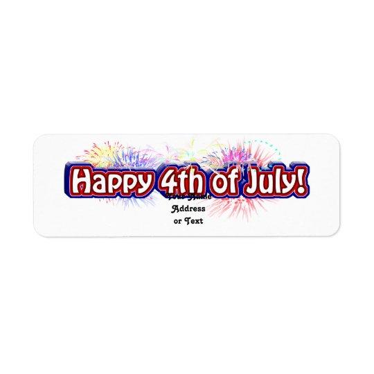 4o feliz do design de texto w/Fireworks de julho Etiqueta Endereço De Retorno