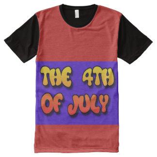 4o JULHO por todo o lado no t-shirt Camiseta Com Impressão Frontal Completa