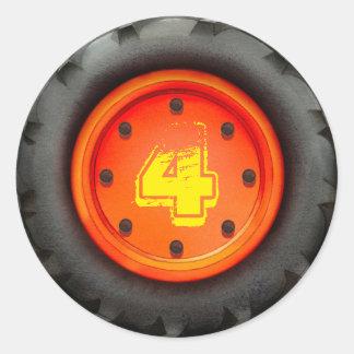4o Partido do caminhão do aniversário Adesivos Redondos