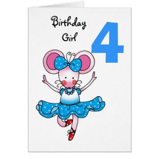 4o presente de aniversário para uma menina, cartão comemorativo