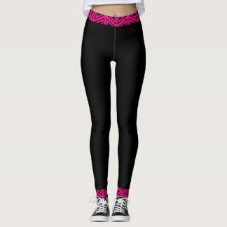 4Tina cor-de-rosa & preto fúcsia Legging