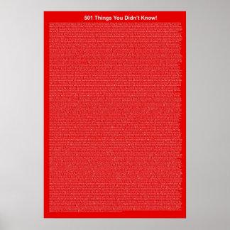501 coisas que você não soube vermelho claro pôsteres