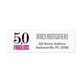 50 & aniversário da tipografia preta cor-de-rosa etiqueta endereço de retorno