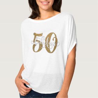 50 & aniversário fabuloso do brilho do ouro do camiseta