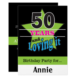 50 anos e amor dele! aniversário de | 50th convite 12.7 x 17.78cm