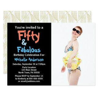 50 & convite de aniversário fabuloso