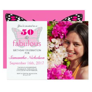 50 & convite de aniversário fabuloso do rosa 50th