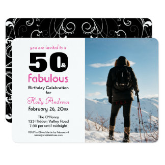 """50 &"" convite de festas fabuloso com foto a cores"