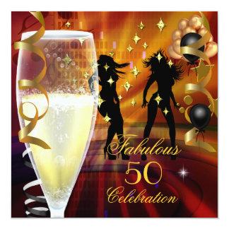 50 dançarinos fabulosos do ouro de Champagne da Convite Quadrado 13.35 X 13.35cm