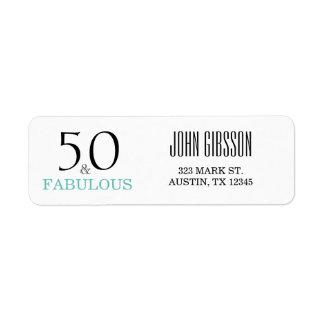 50 e 50th etiqueta de endereço do remetente