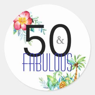 50 e 50th etiquetas tropicais fabulosas do