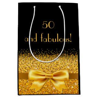 50 e arco do ouro e preto elegantes fabulosos da sacola para presentes média